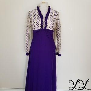 Vintage Dress 1970s Purple Cream Long Ruffles Lace